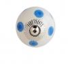 Möbelknöpfe/Porzellanknöpfe Punkte - weiss/blau - 14
